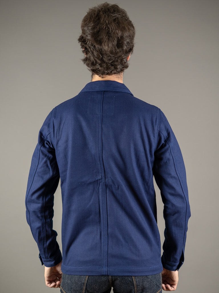 companion denim blouson bleu herringbone jacket back