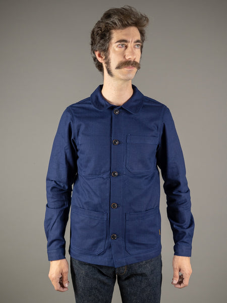 companion denim blouson bleu herringbone jacket front