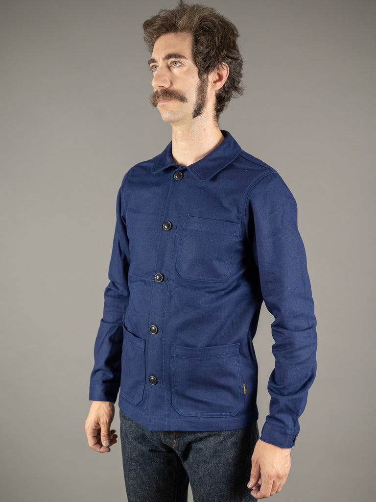 companion denim blouson bleu herringbone jacket side