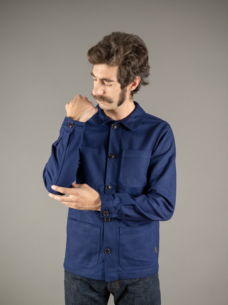 companion denim blouson bleu herringbone jacket cuffs