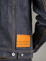 companion cone denim type 3 raw selvedge jacket leather patch