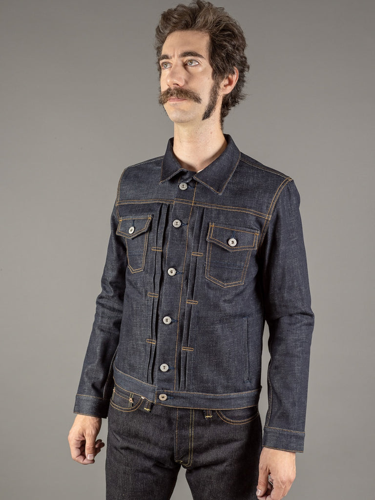 companion cone denim type 3 raw selvedge jacket side