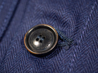 companion denim blouson bleu herringbone jacket corozo button