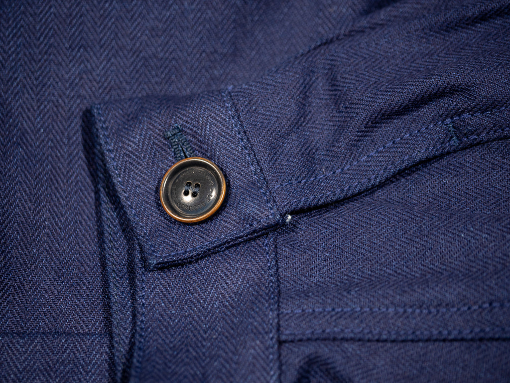 companion denim blouson bleu herringbone jacket cuff button