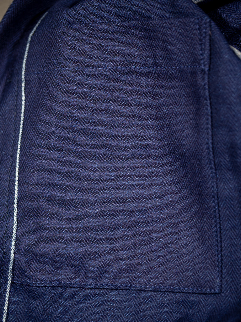 companion denim blouson bleu herringbone jacket interior details