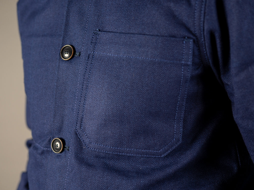 companion denim blouson bleu herringbone jacket chest pocket