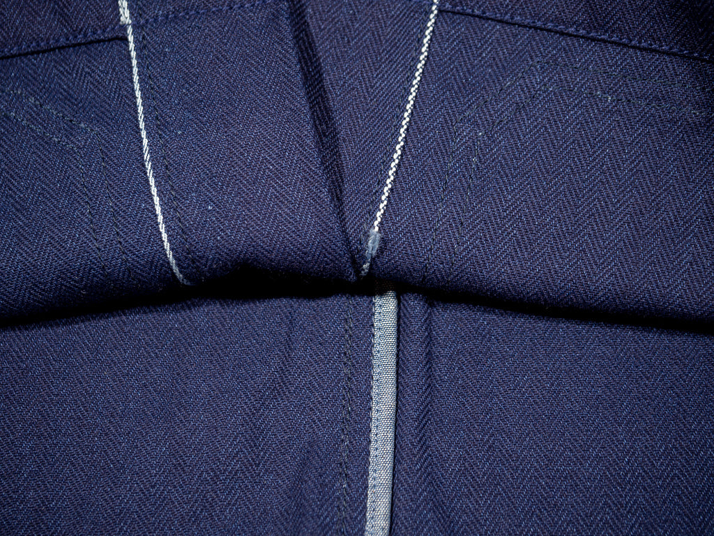 companion denim blouson bleu herringbone jacket interior selvedge