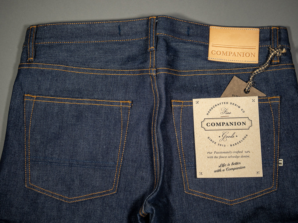 companion denim joel 01c cone denim raw selvedge jeans back pockets
