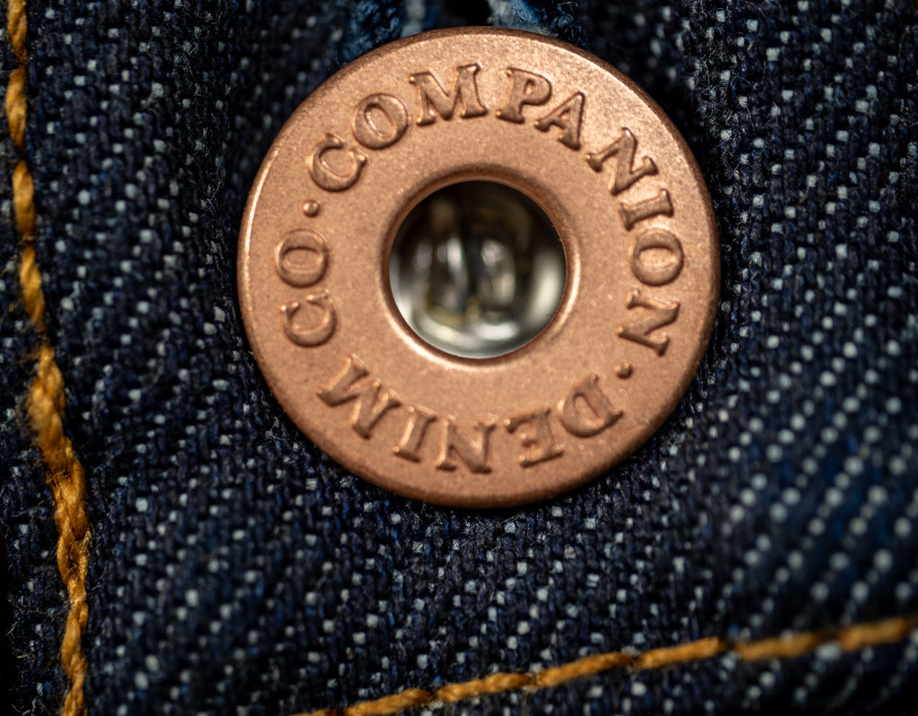 companion denim joel 01c cone denim raw selvedge jeans copper button