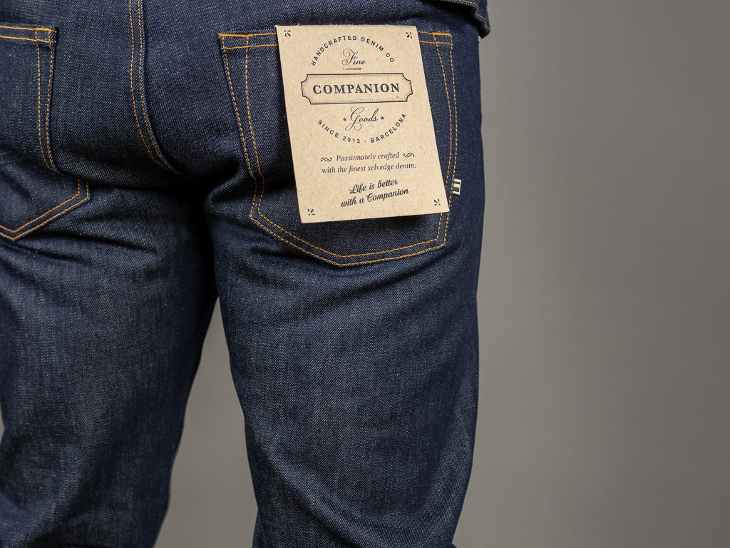 companion denim joel 01c cone denim raw selvedge jeans back tag