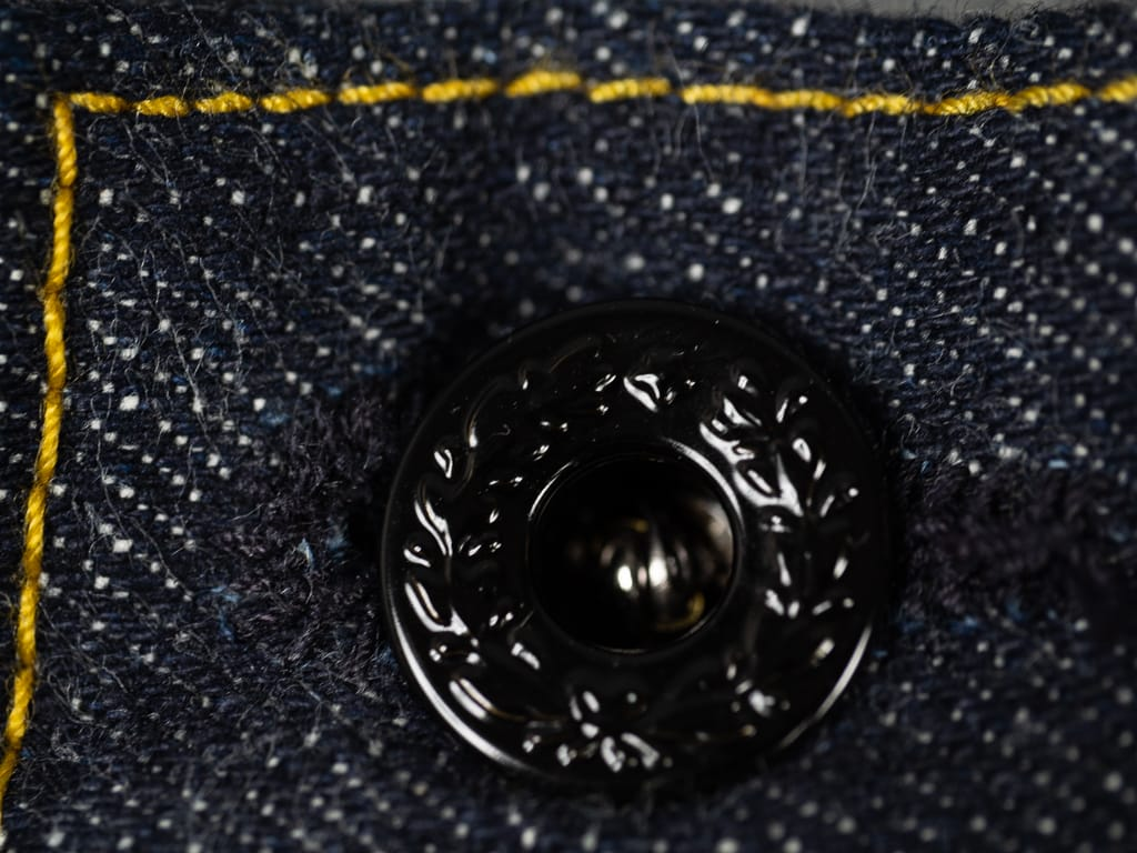 black laurel button of muller & bros. 542XX selvedge japanese denim jeans