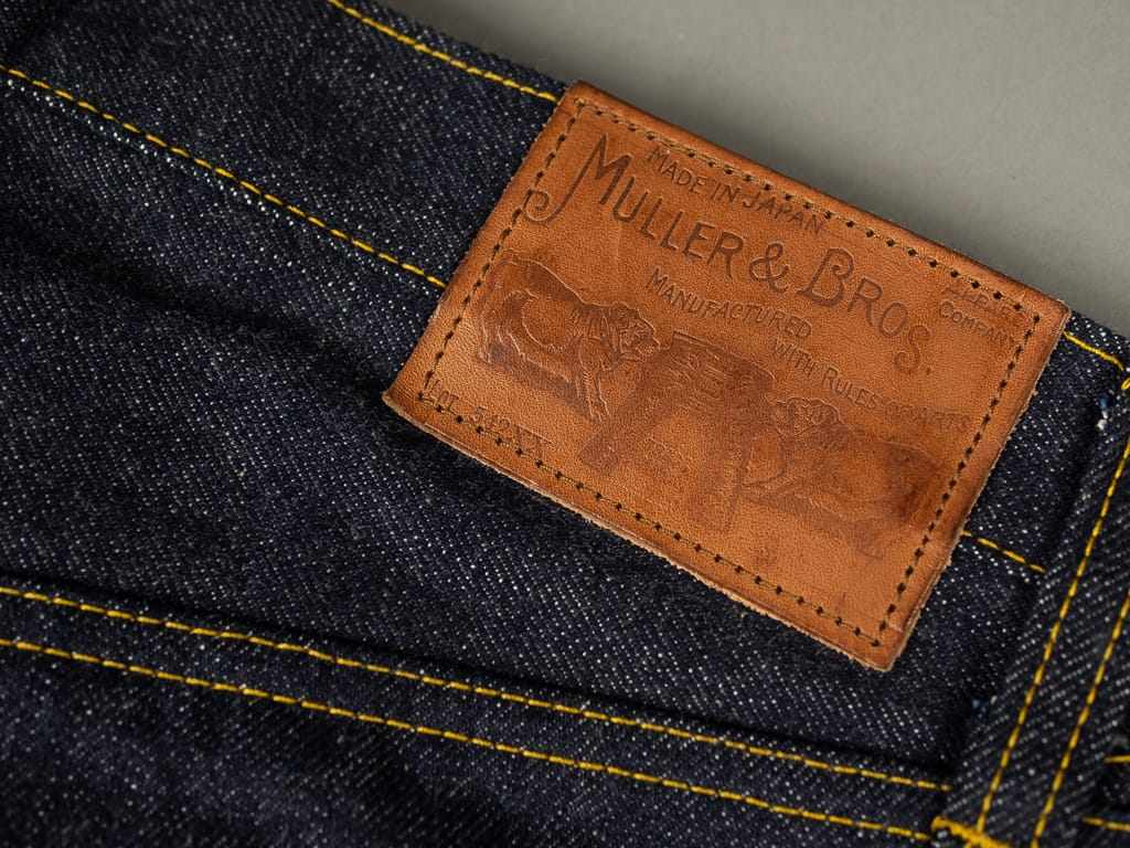 leather patch of muller & bros. 542XX selvedge japanese denim jeans