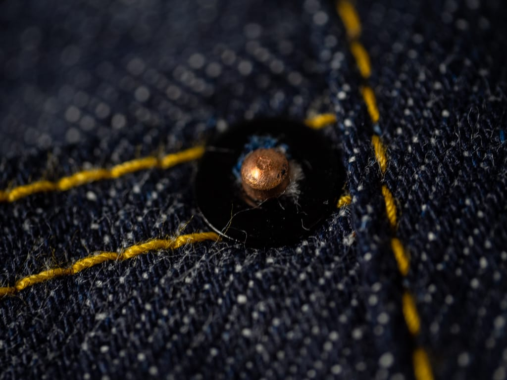 rivet of muller & bros. 542XX selvedge japanese denim jeans