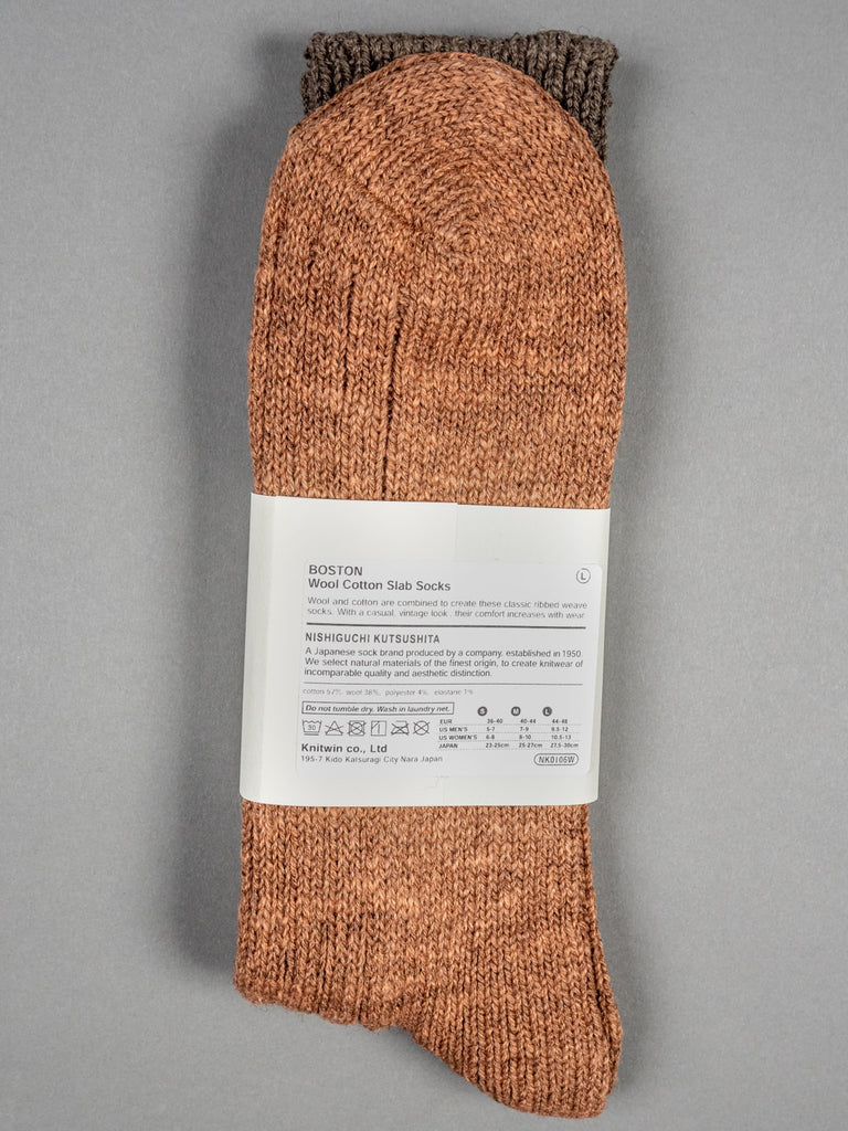 Nishiguchi Kutsushita Wool Cotton Slab Socks Brown label