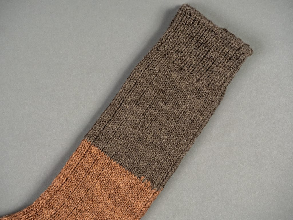 Nishiguchi Kutsushita Wool Cotton Slab Socks Brown detail