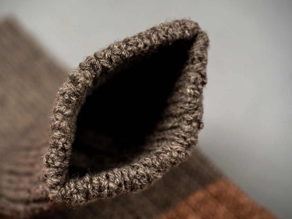 Nishiguchi Kutsushita Wool Cotton Slab Socks Brown knitting