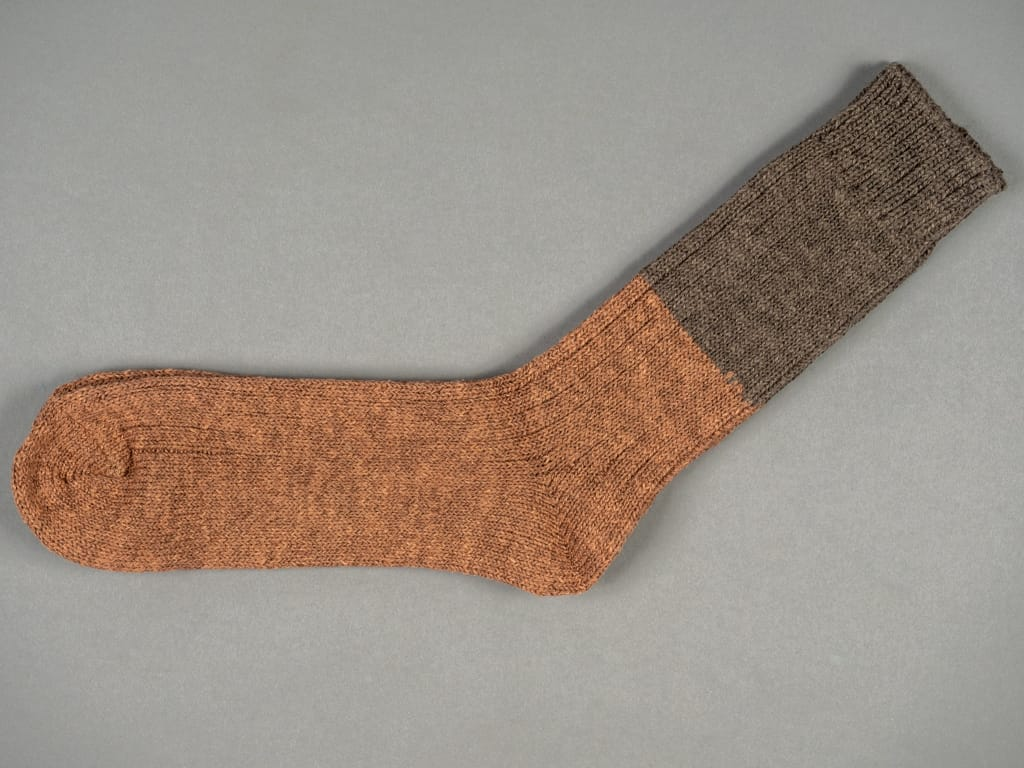 Nishiguchi Kutsushita Wool Cotton Slab Socks Brown made in japan