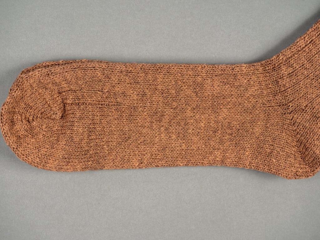 Nishiguchi Kutsushita Wool Cotton Slab Socks Brown toe