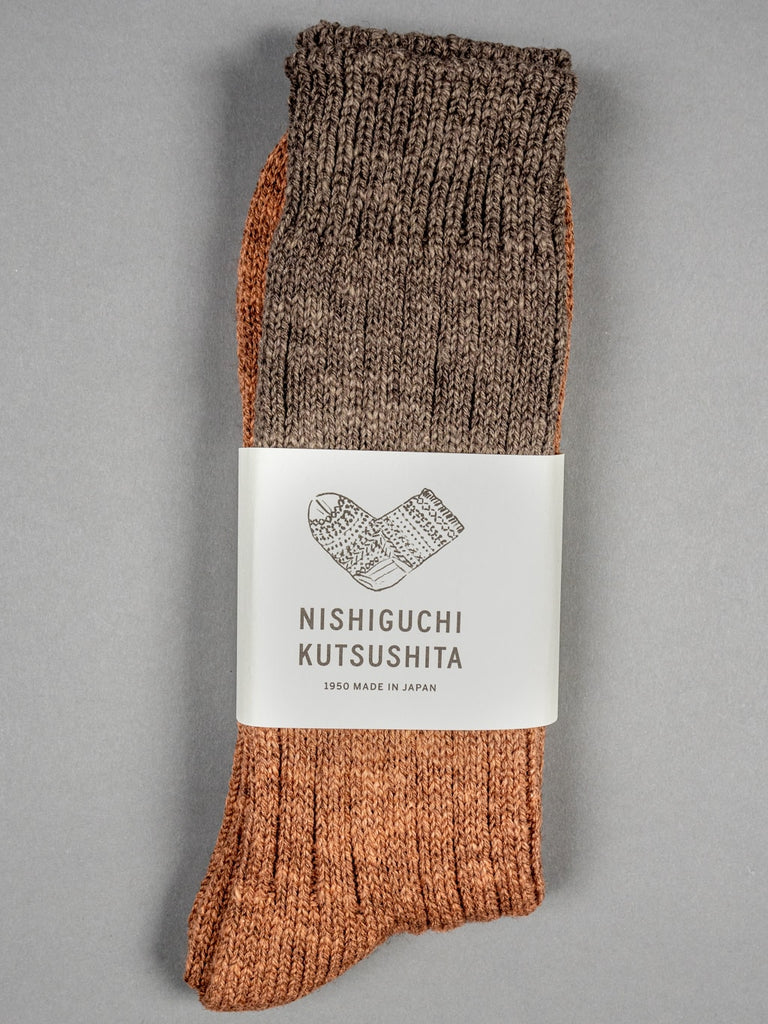 Nishiguchi Kutsushita Wool Cotton Slab Socks Brown