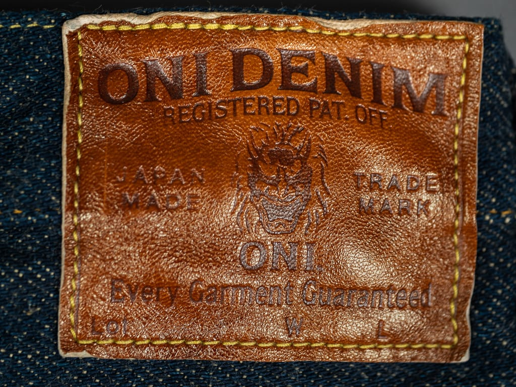 oni denim secret denim jeans deerskin leather patch