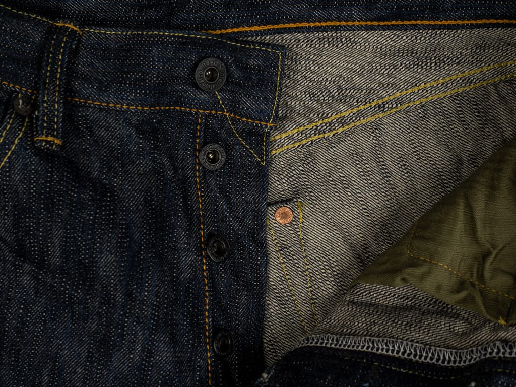 ONI Denim 245 Natural Indigo Kihannen Jeans copper buttons