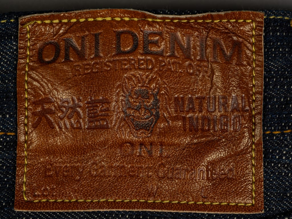 ONI Denim 245 Natural Indigo Kihannen Jeans leather patch