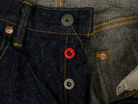 oni denim 622 red caliper jeans indigo red button