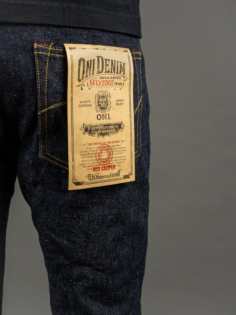 oni denim 622 red caliper jeans label