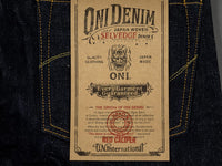 oni denim 622 red caliper jeans logo label