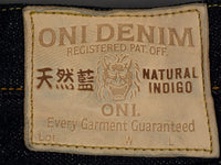 oni denim 622 red caliper jeans leather patch