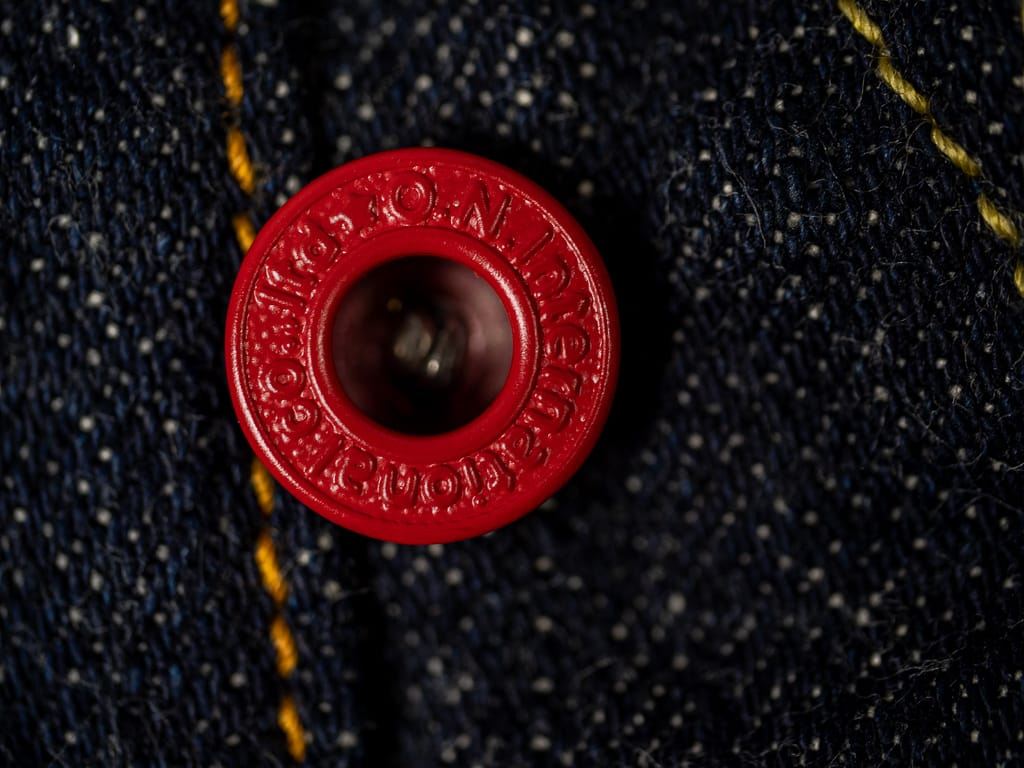 oni denim 622 red caliper jeans red button detail