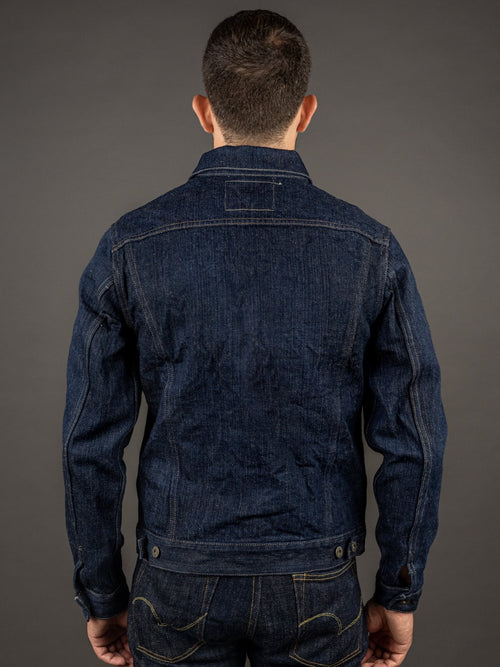 "ONI Denim 02527P ""Kiwami"" 16oz Natural Indigo Type III Jacket back"