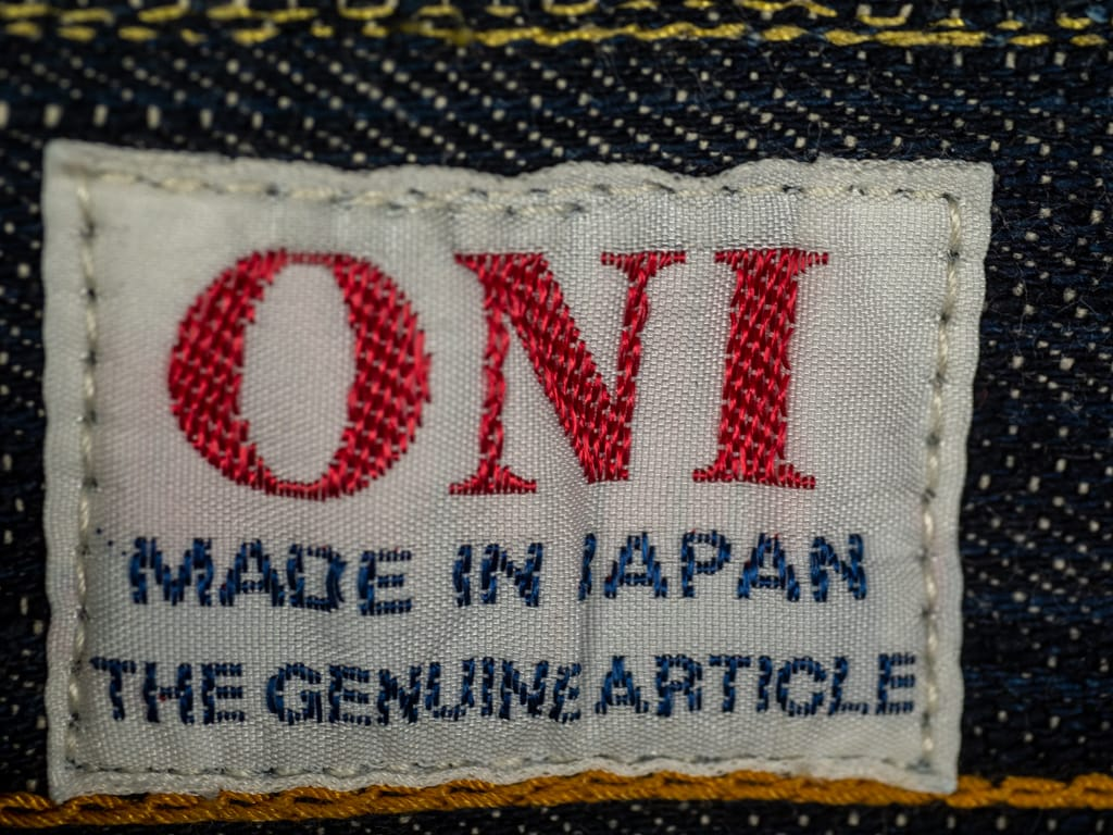 ONI Denim 245 Natural Indigo Kihannen Jeans tag