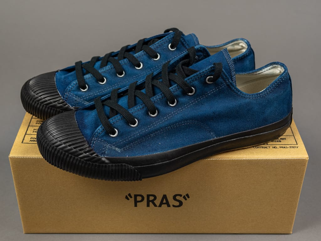 Pras Shellcap Low Indigo Hand Dyed Sneakers box