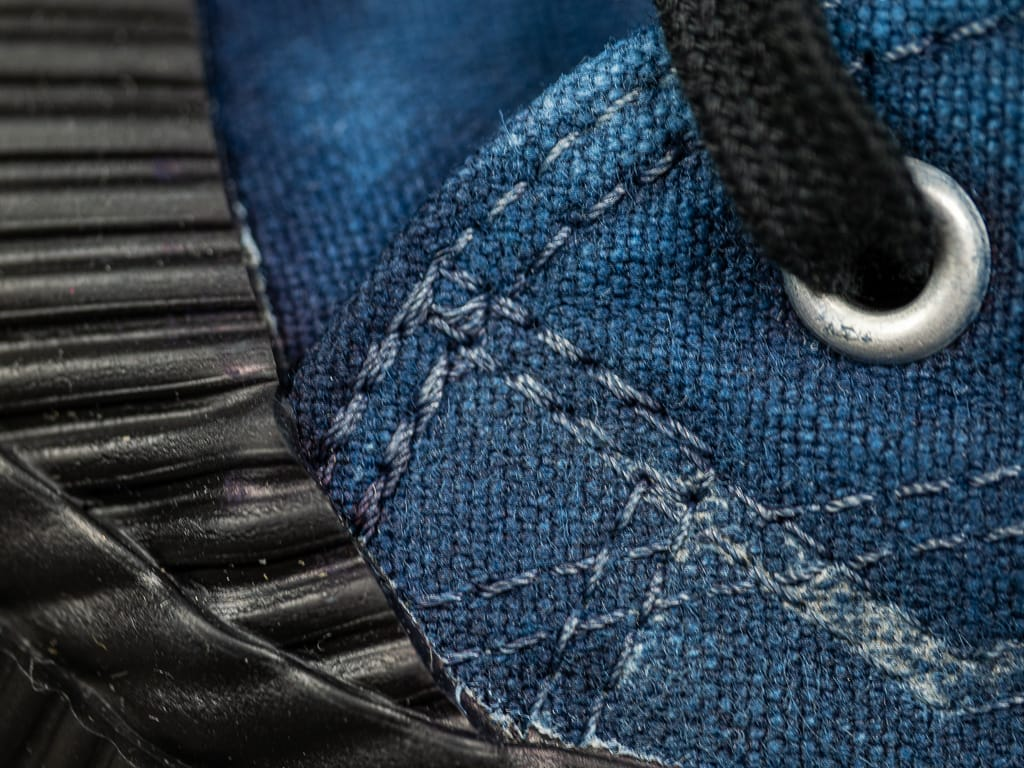 Pras Shellcap Low Indigo Hand Dyed Sneakers stitching