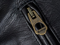 "Shangri-La Heritage ""Varenne"" Black Leather Jacket brass zipper"