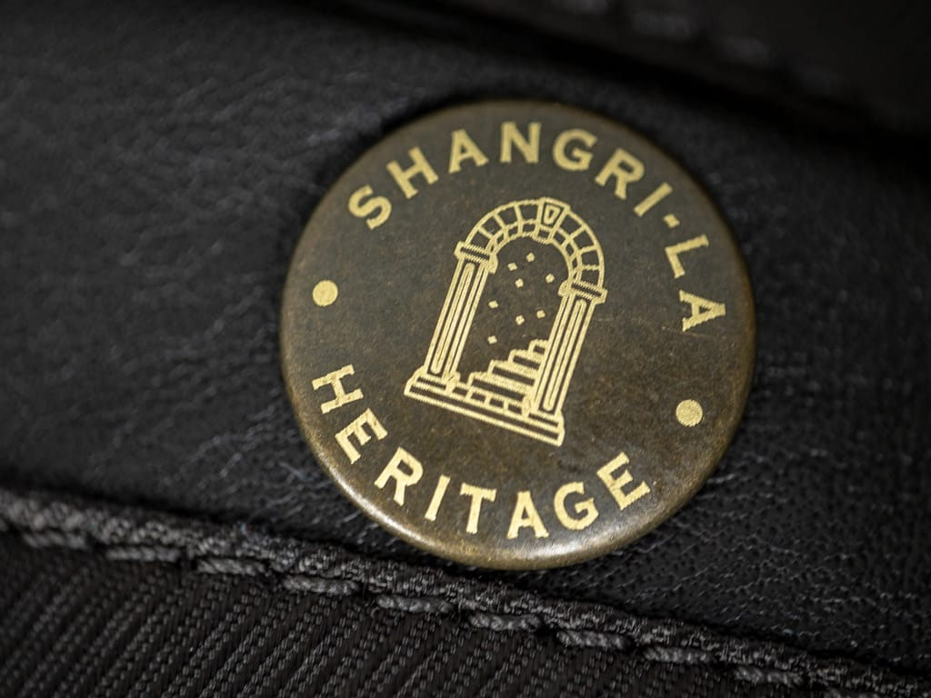 "Shangri-La Heritage ""Varenne"" Fur Collar Black Leather Jacket automatic button"