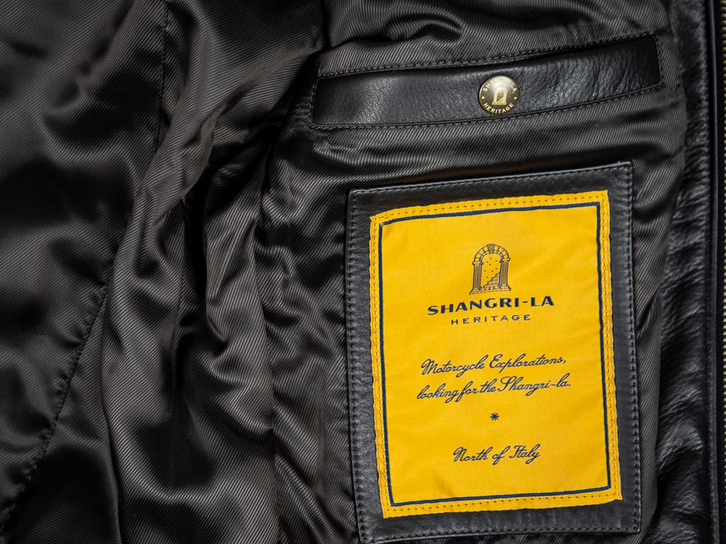 "Shangri-La Heritage ""Varenne"" Black Leather Jacket interior tag"