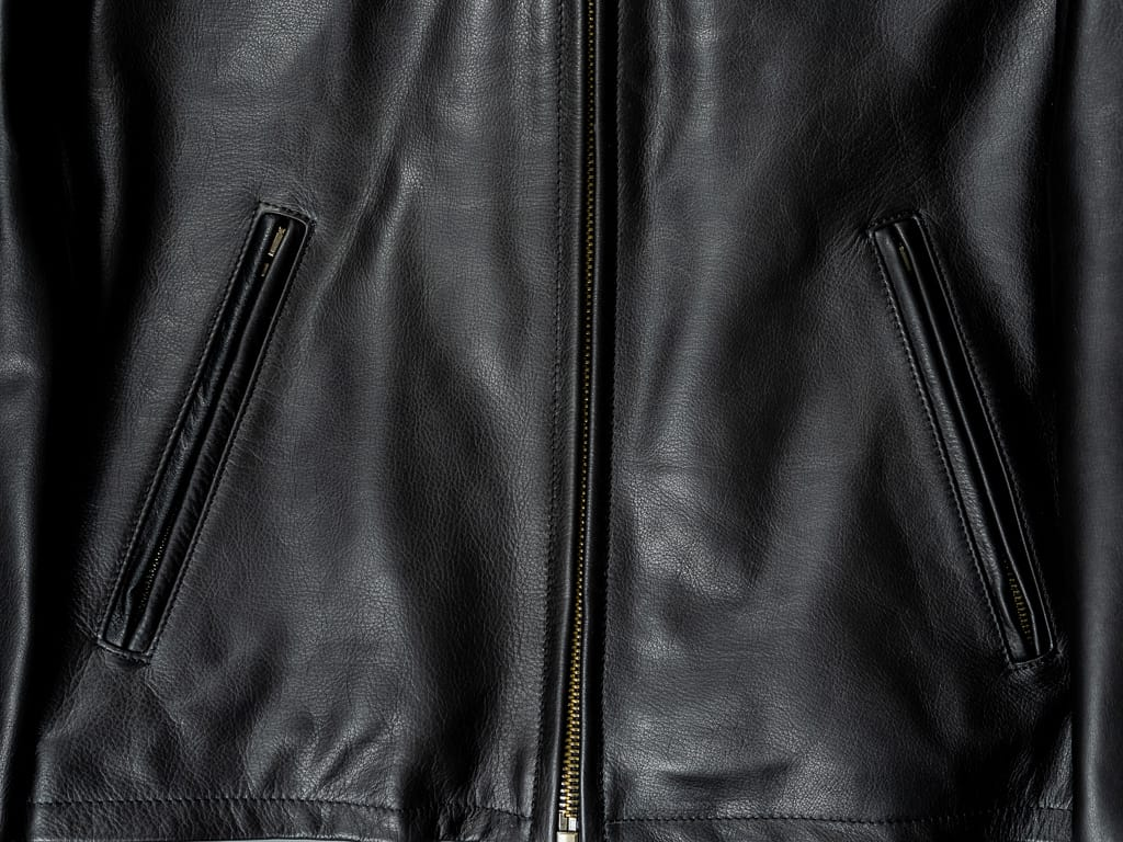 "Shangri-La Heritage ""Varenne"" Black Leather Jacket front pockets"