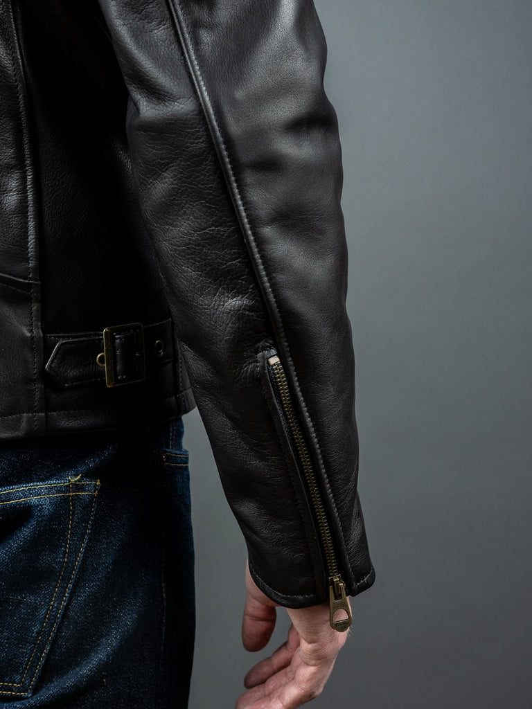 "Shangri-La Heritage ""Varenne"" black Leather Jacket cuff zipper"