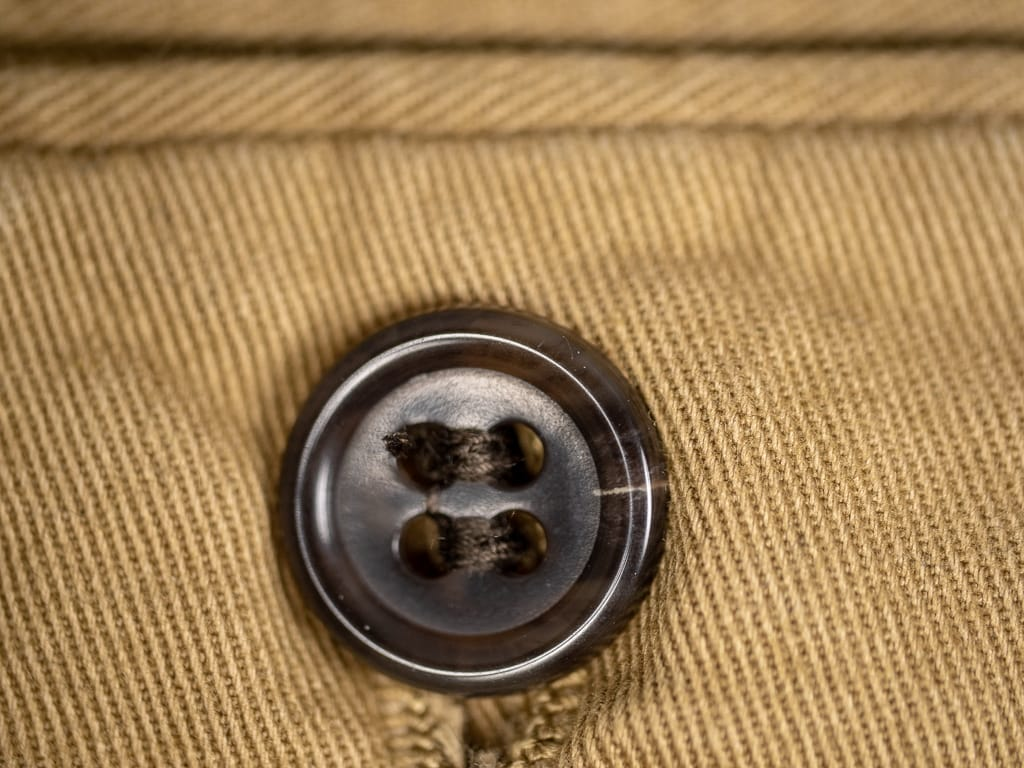 brown wooden buttons of Spellbound 43-726T Tapered Chinos Camel