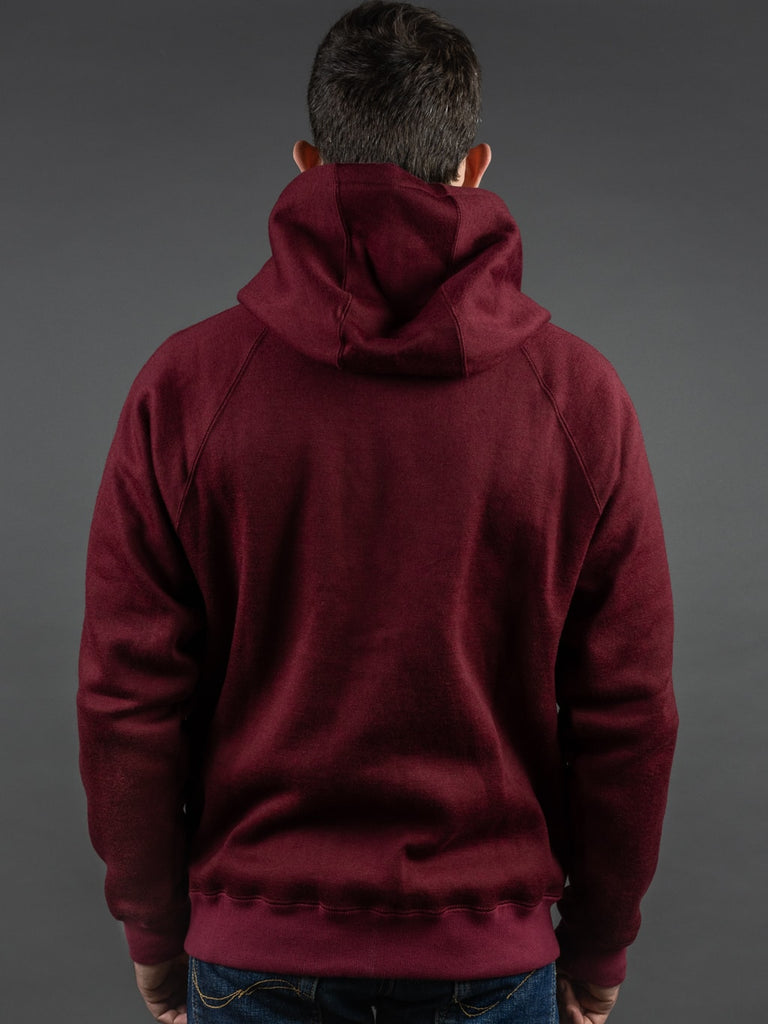 Stevenson Overall Detachable Hooded Athletic Jacket Burgundy back hood