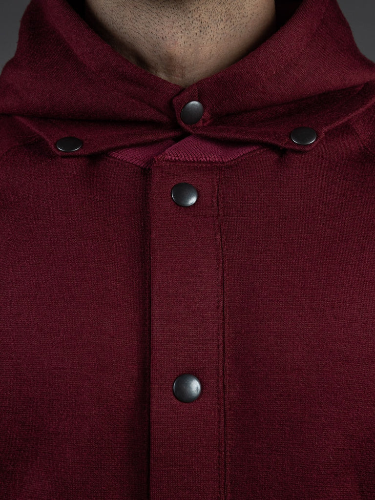 Stevenson Overall Detachable Hooded Athletic Jacket Burgundy snap buttons