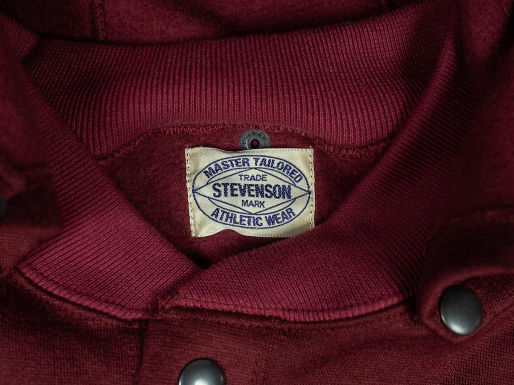 Stevenson Overall Detachable Hooded Athletic Jacket Burgundy tag