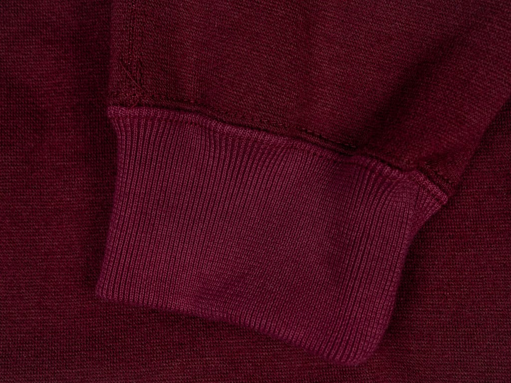 Stevenson Overall Detachable Hooded Athletic Jacket Burgundy cuff