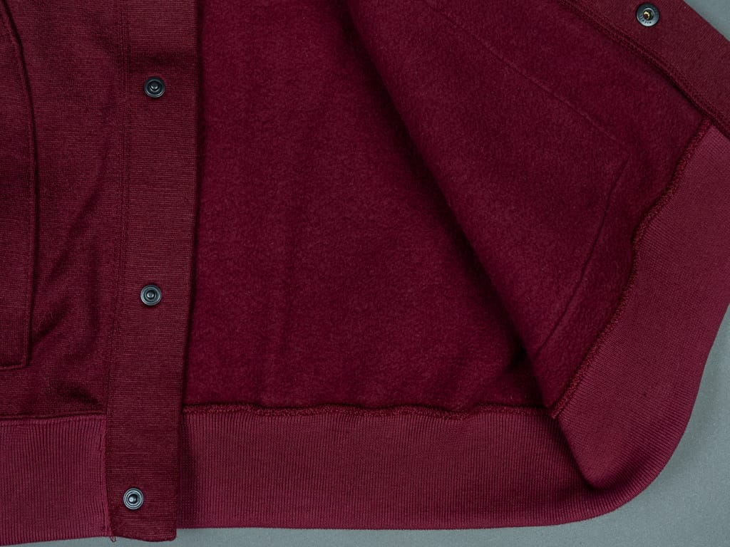 Stevenson Overall Detachable Hooded Athletic Jacket Burgundy cotton interior