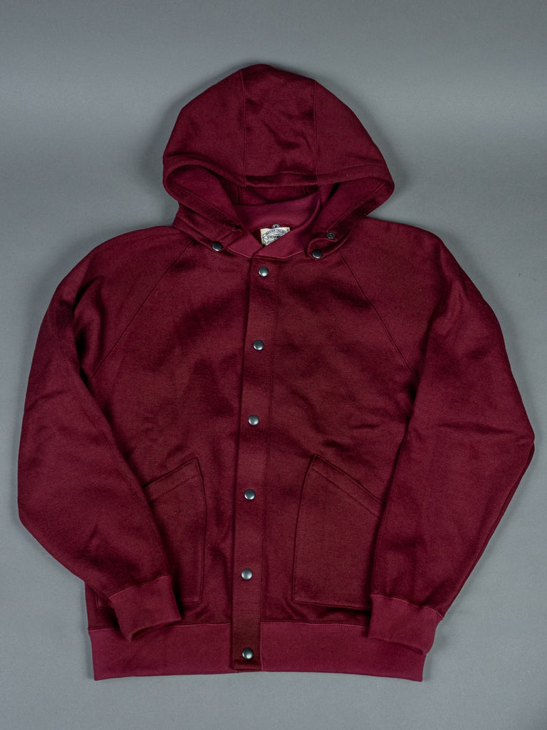 Stevenson Overall Detachable Hooded Athletic Jacket Burgundy buttons