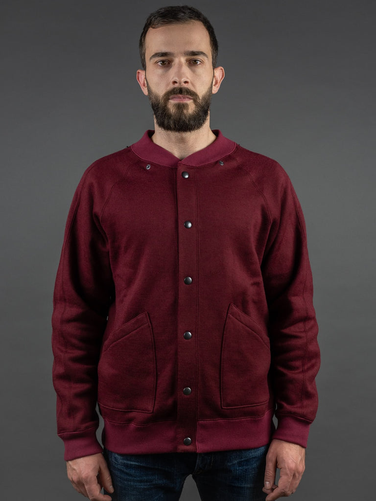 Stevenson Overall Detachable Hooded Athletic Jacket Burgundy front