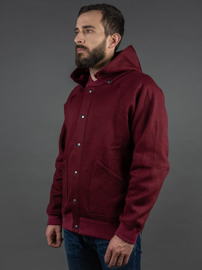 Stevenson Overall Detachable Hooded Athletic Jacket Burgundy side