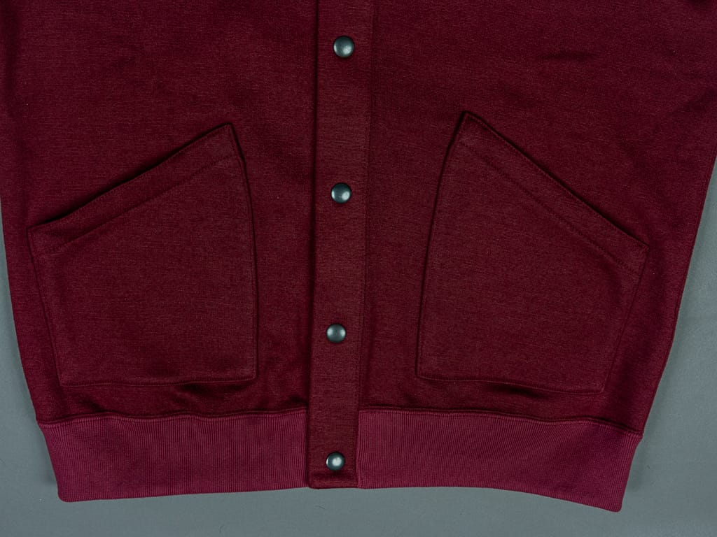 Stevenson Overall Detachable Hooded Athletic Jacket Burgundy waistband
